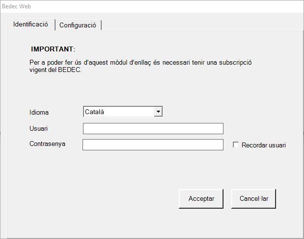 Mòdul d'enllaç BEDEC web
